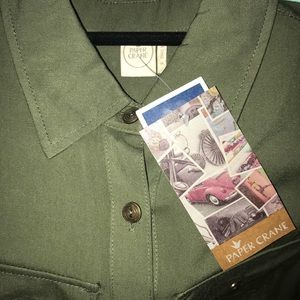 Olive green button-up dress